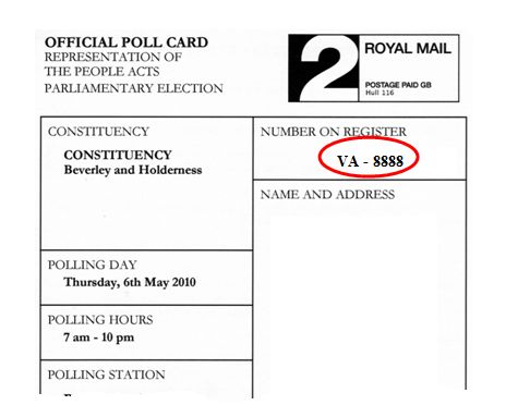 Polling Card Number