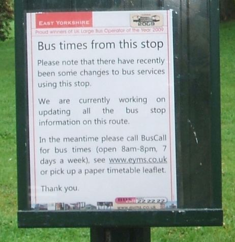 Bus Stop awaiting timetables