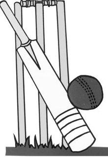 Cricket stumps bat and ball bw