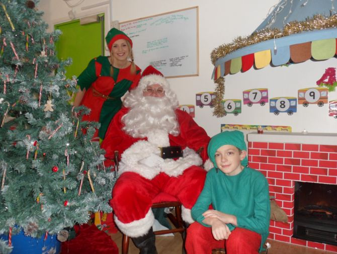 Santa with Elves Pippa and Jacob