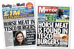 Hosemeat newspaper headlines