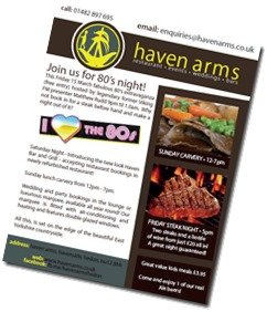 80′s Night at The Haven Arms – and check out the new facilities!