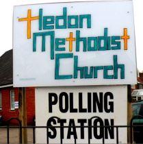 Hedon Methodist Church Polling Station sign