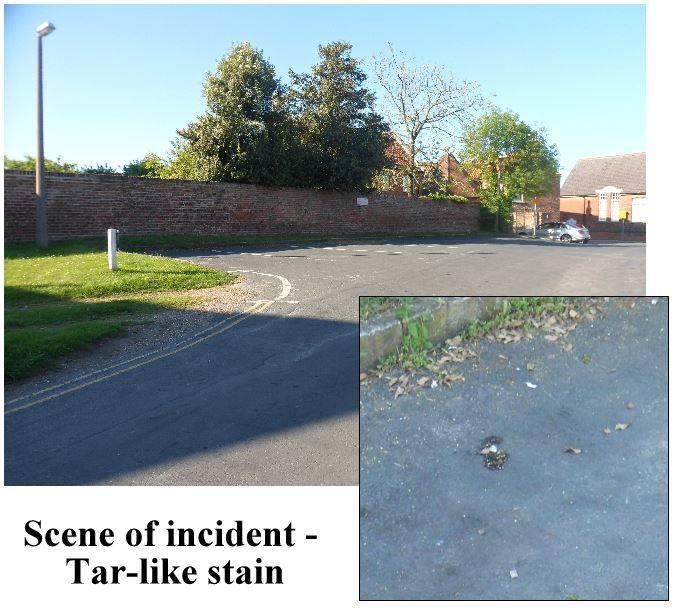 Market Hill Scene incident - tar-like stain