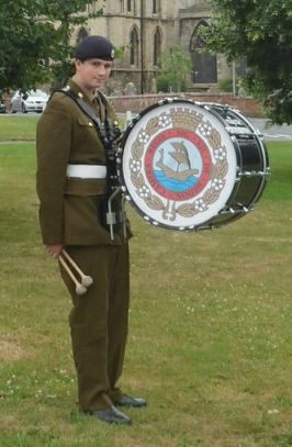 Cadet Thomas Richmond with the Hedon Drum