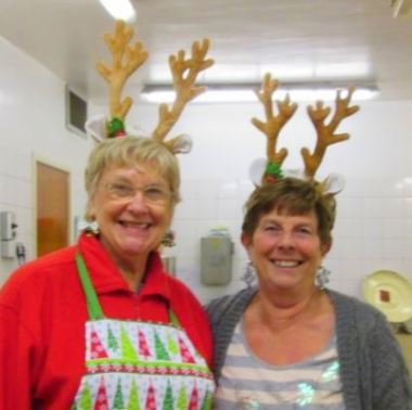 Helpful reindeer Diane Davy and Heather Burwell at the Alexandra Hall