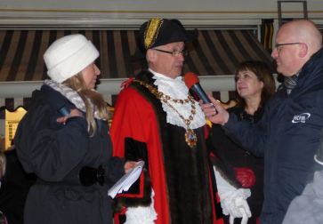 Mayor and Mayoress interviewed before the Switch-on