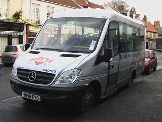 Type of vehicle not specified, but HART's medi-buses frequently travel Hedon's streets