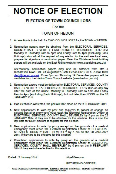 Notice of Election Hedon