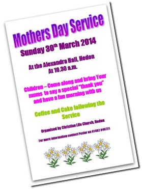 A 'Thank You' to mums at special Mother's Day Service 2014