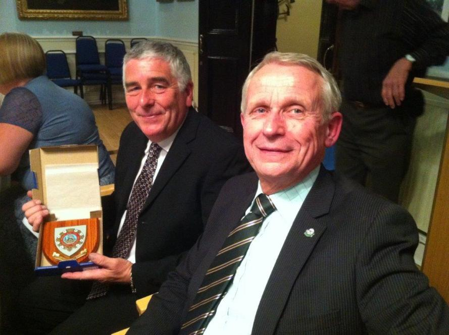 Bob Pyle with the Hedon Shield and Mayor Cllr John Denniss