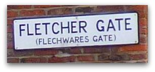 Fletcher Gate street nameplate shows alternative name