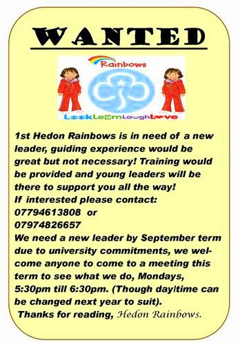Hedon Rainbows Leader wanted