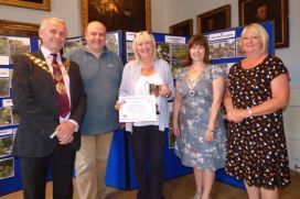 Hedon in Bloom Winner Mrs Grace Dunn (centre) with Hedon Mayor John Dennis, Judge Doug Stewart, Mayoress Jennifer Dennis, Cllr Di Storr