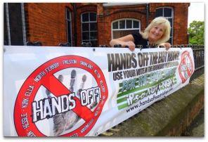 Cllr Moira Gittins and the Preston Banner