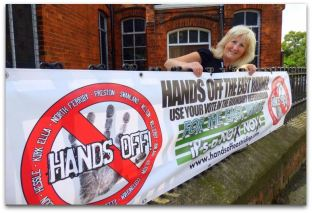 Cllr Moira Gittins and the Preston Banner