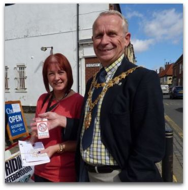 Yvonne Becks volunteers to leaflet