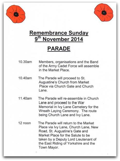 Remembrance Poster 2014