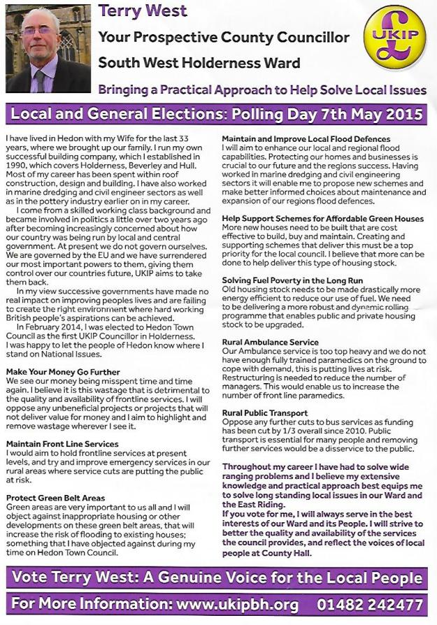 Terry West ERYC Leaflet