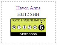 Haven Arms Food Hygiene Rating