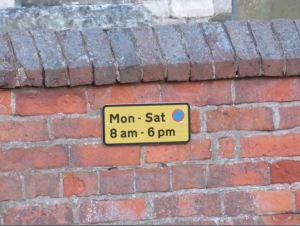 No parking brick size notice