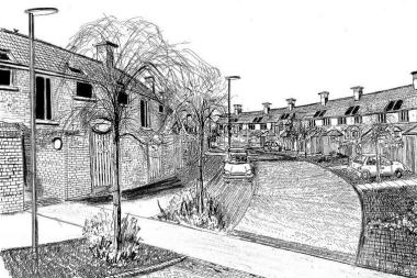 Artist sketch of new housing