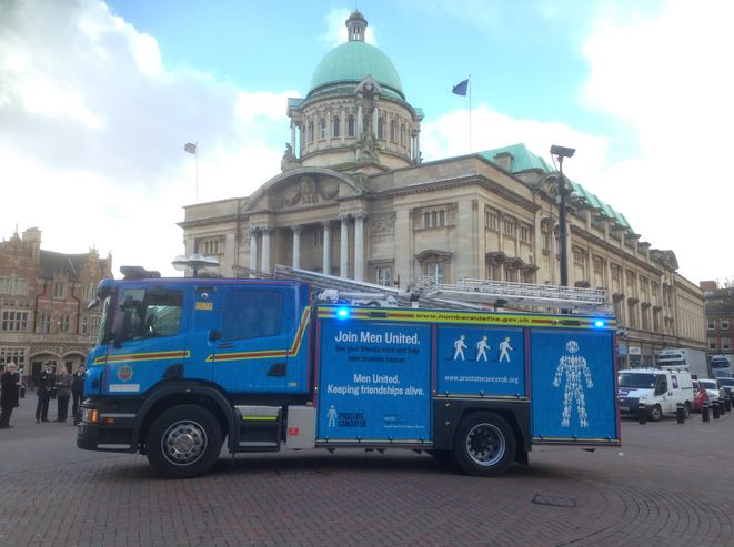 Blue engine at Hull City Hall