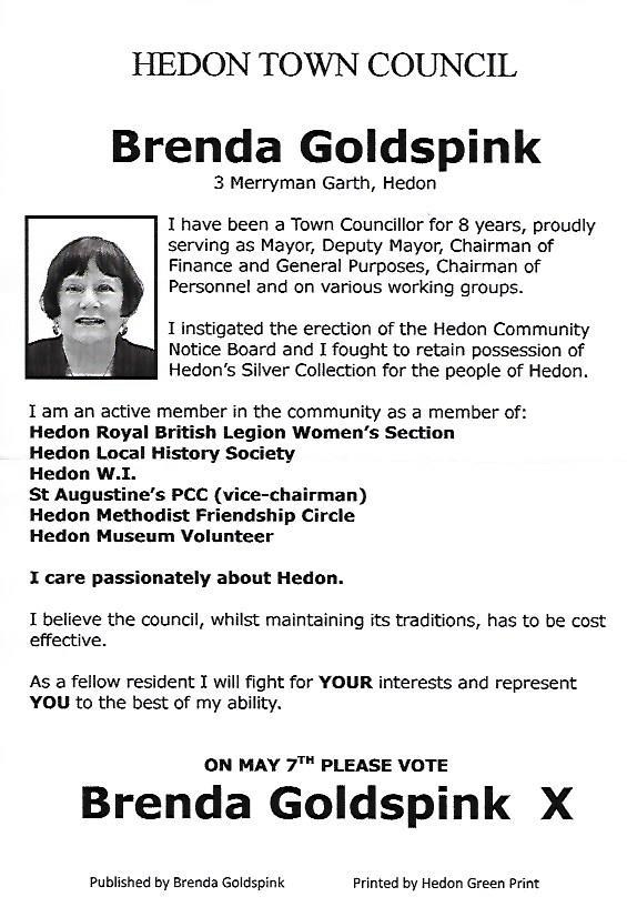 Brenda Goldspink Election