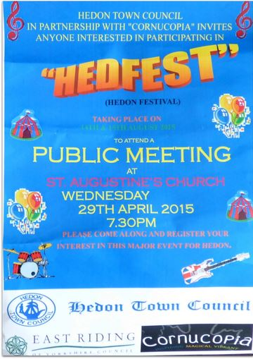 HedFest Public Meeting - Wed 29th April - St Augustine's Church - 7:30pm