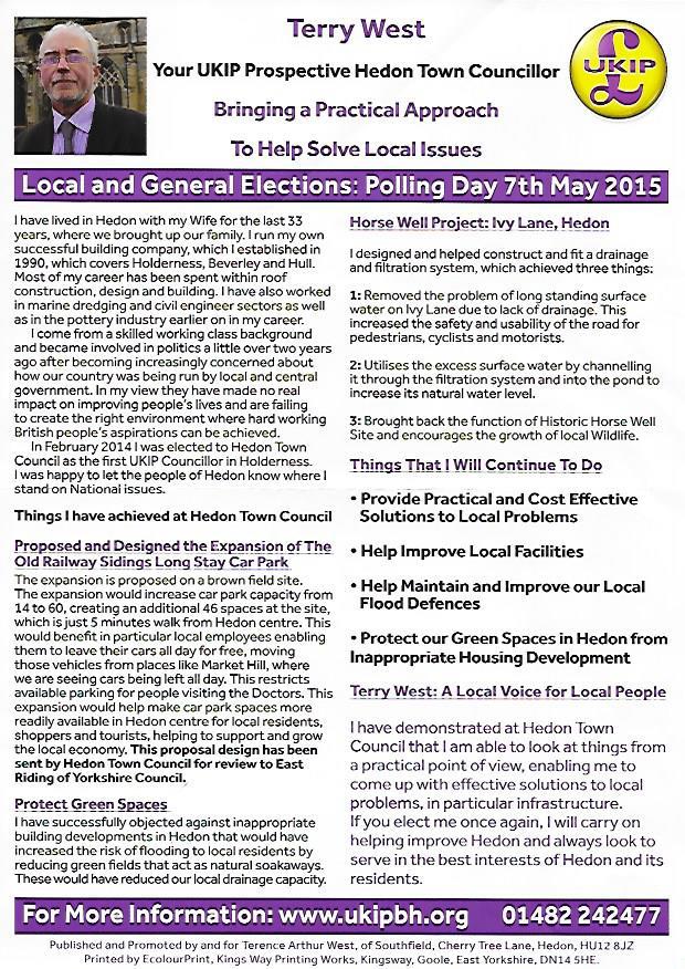 Terry West UKIP leaflet