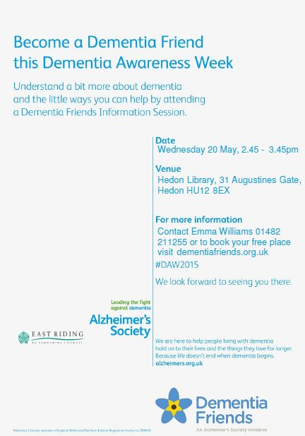 Dementia Awareness - Hedon Library poster