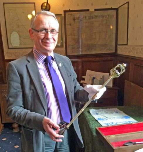 Cllr. John Dennis with the Hedon Mace