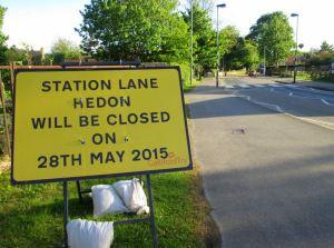 Station Lane closed 28-05-15
