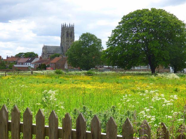 The Church across Station Lane field in June 2015