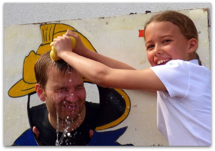 Mr Thompson soaked by Katie