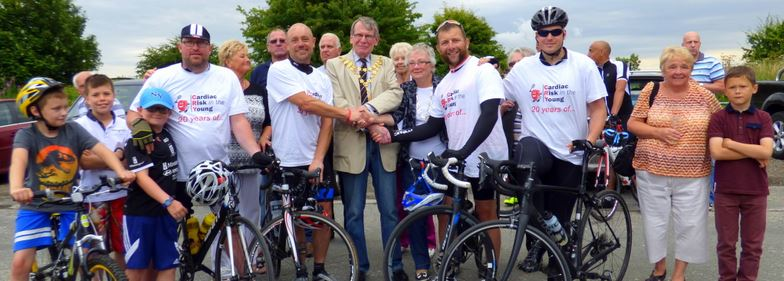 Charity Cyclists greeted by Mayor and supporters