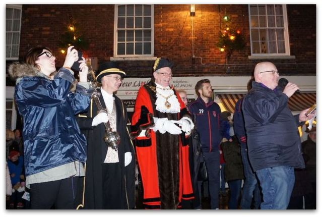Rob Langley of KCFM leads the countdown to the lights switch on