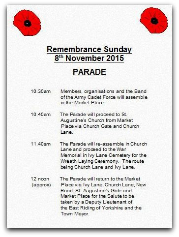 Remembrance timings