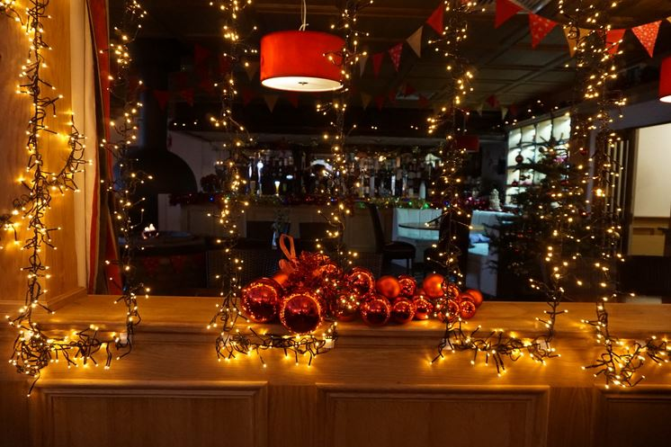 Festive dining decor at Haven Arms