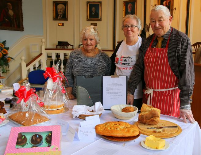 Charity Cake sellers - Pearl Cushing, Mayoress Linda Black and Allen Marshall