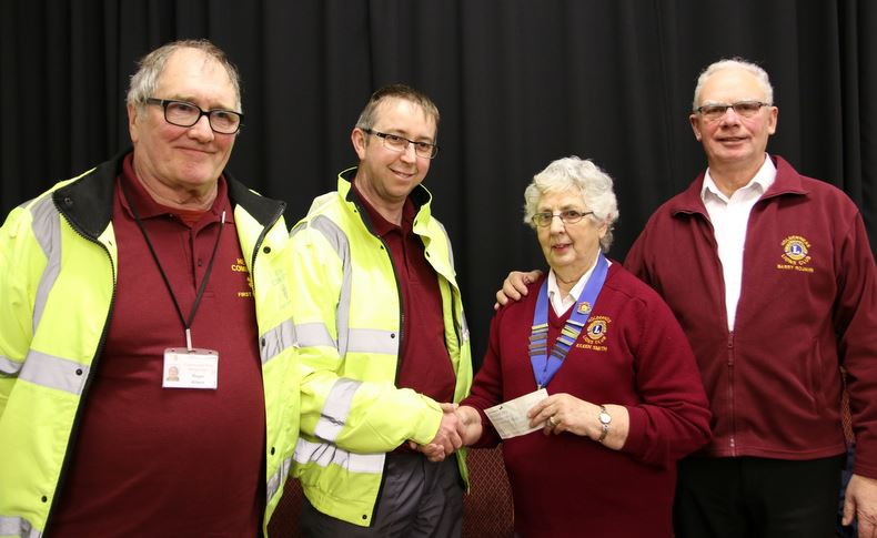 Hedon Community First Responders Roger Allison, Tim Houlton and Lions Eileen Smith and Barry Rojahn.