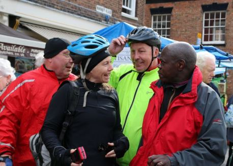 Cyclists chat Archbishop