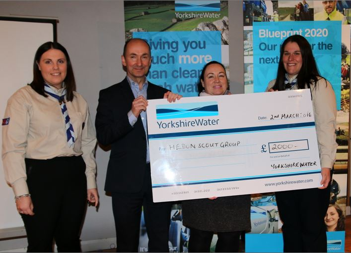 Hedon Scouts YW cheque