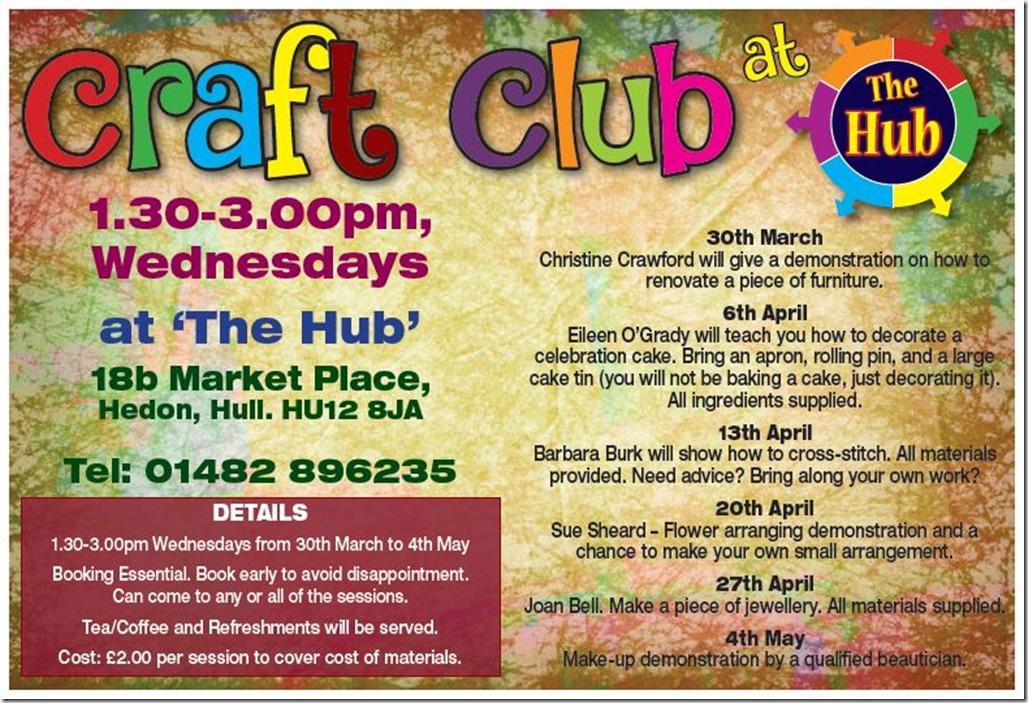 Hub craft club programme