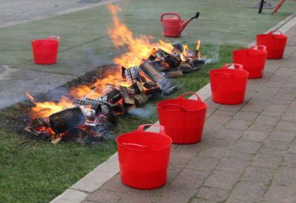 Logs burning to ash