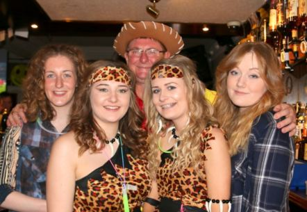 Andy 'Woody' Brown and Easter staff at 1990's night at The Queen's Head
