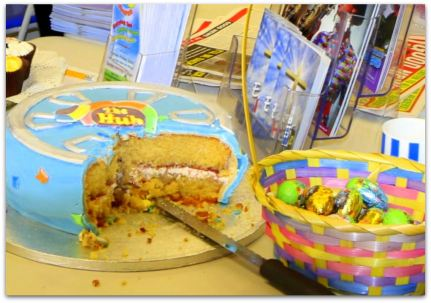 The Hub cake and Easter eggs