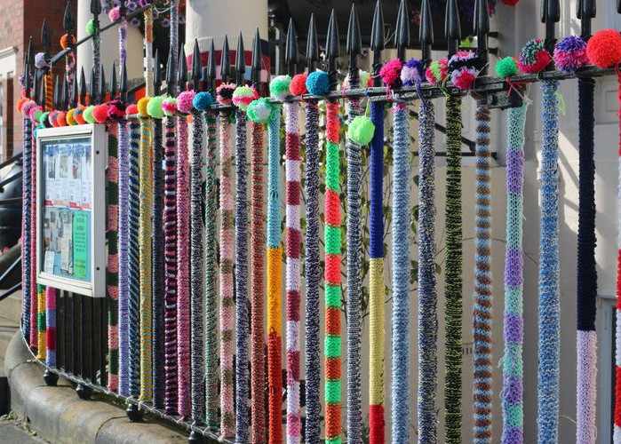 Yarn bombed railings 2