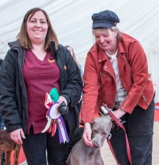 Hayley Bateman, Helen Hedges and Harley the weimaraner