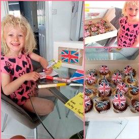 Sophia Waugh baking cupcakes collage